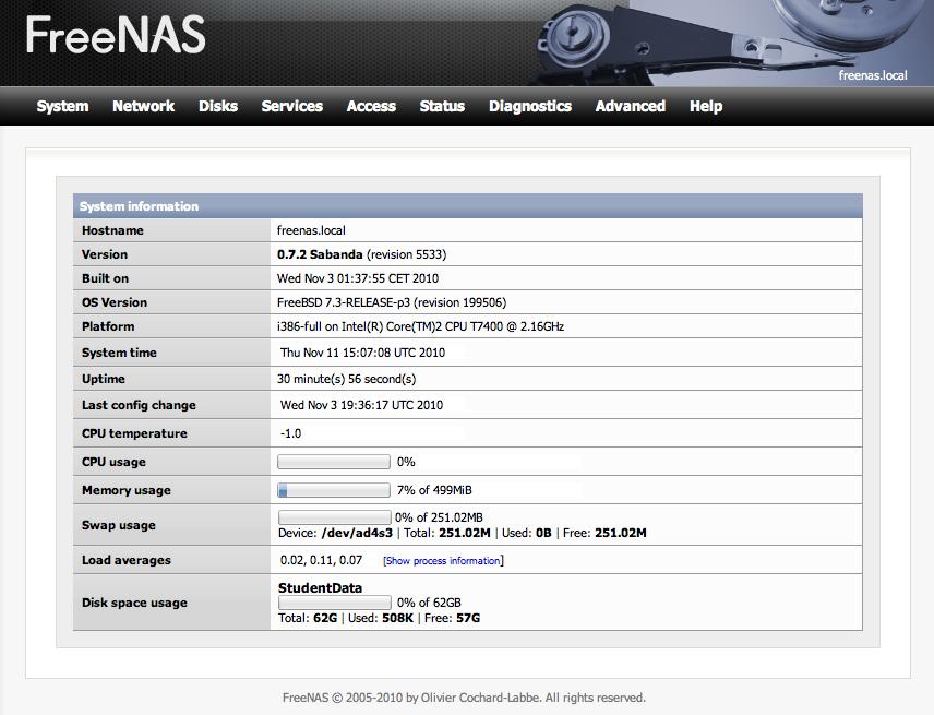 freeNAS File Server for Student Data | tfnp