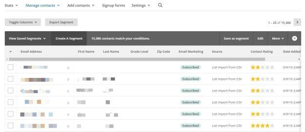 MailChimp - Segment Results